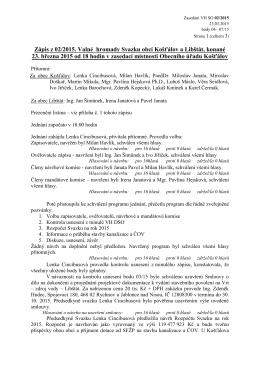 Zápis z 02/2015. Valné hromady Svazku obcí Košťálov a Libštát