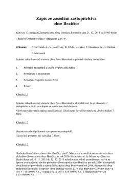 Zápis zastupitelstva dne 21.12.2015