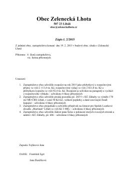 Zápis č. 2/2015 z jednání obecního