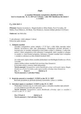 Zápis ze zasedání MěZ Buštěhrad č. 13/2015