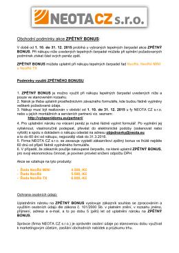 Obchodní podmínky akce ZPĚTNÝ BONUS: