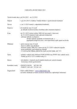 Informace k plánované akci Ukrajina 2015