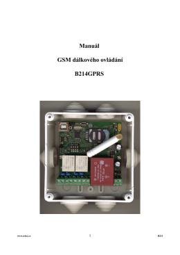 Manuál GSM dálkového ovládání B214GPRS