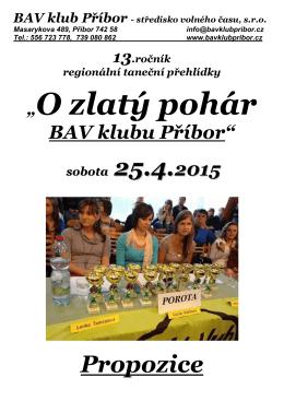 Zlatý pohár 2015 - Propozice