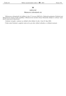 Sbı¬rka mezina¬rodnı¬ch smluv cœ. 53 / 2001 Cœ a¬stka 20 Strana