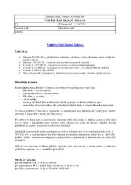 Řád školní jídelny - Základní škola Trutnov, Rudolfa Frimla 816