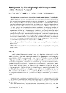 Management výslovnosti pravopisně neintegrovaného lexika v