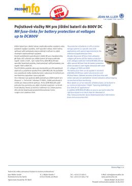 Pojistkové vložky NH pro jištění baterií do 800V DC