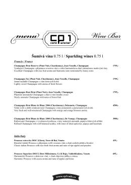 Šumivá vína 0.75 l / Sparkling wines 0.75 l