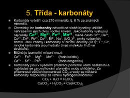 5. Třída - karbonáty