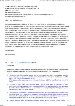 Subject: Re: NEZ a Spořilov - prosba o vyjádření From