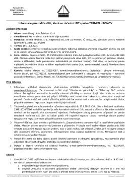 Informace pro rodiče dětí, které se zúčastní LDT Štěnkov 2015