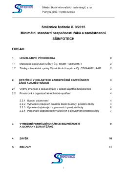 Směrnice ředitele č. 9/2015 - Minimální standard