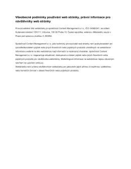 Všeobecné podmínky používání web stránky, právní informace pro