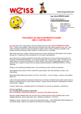 pozvánka na den otevřených dveří dne 9. května 2015