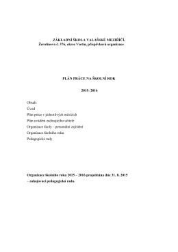 Plán práce na školní rok 2015/2016