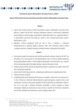 Jednací řád Grantové komise Interního grantového systému