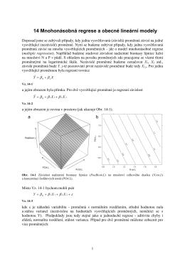 14 Mnohonásobná regrese a obecné lineární modely