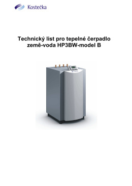 Technická data TČ HP3BW