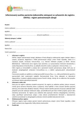 Informovaný souhlas pacienta (zákonného zástupce) se zařazením