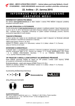 22. května – 21. června 2015 INFORMACE PRO AKREDITOVANÉ