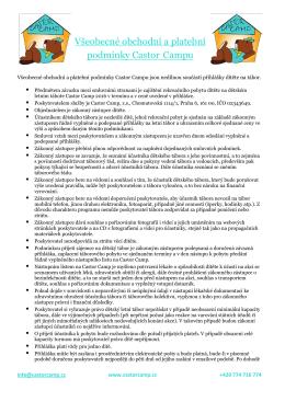 Všeobecné obchodní a platební podmínky Castor Campu