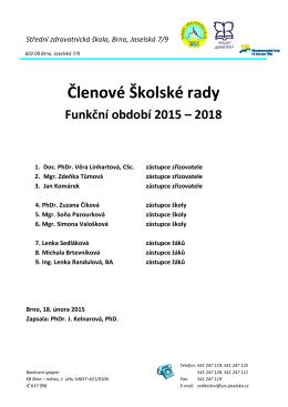 Aktuální složení školské rady k 10. únoru 2015