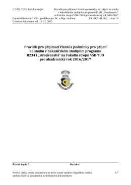 Pravidla přijetí Bc. Strojírenství - FS VŠB