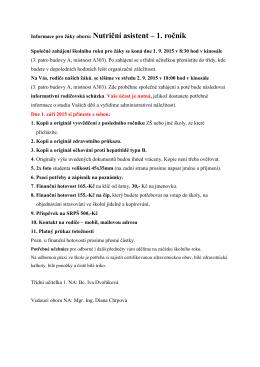 Informace pro žáky oboru: Nutriční asistent – 1. ročník