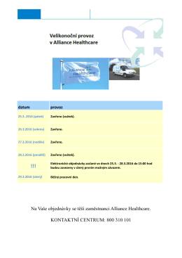 Vánoční a novoroční provoz Alliance Healthcare !!! !!! !!!