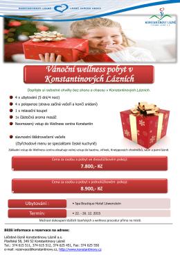 Vánoční wellness pobyt v Konstantinových Lázních