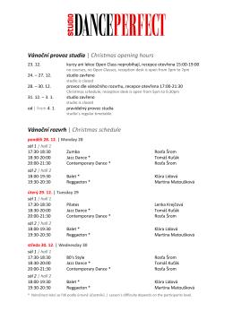 Vánoční provoz studia | Christmas opening hours Vánoční rozvrh