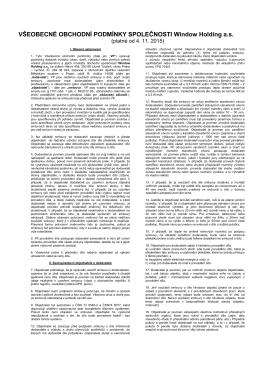 Všeobecné obchodní podmínky Window Holding a.s. platné od 4.11
