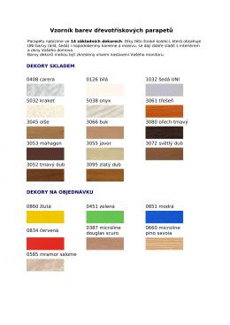 Vzorník barev dřevotřískových parapetů