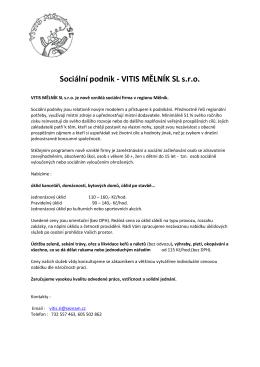 Sociální podnik - VITIS MĚLNÍK SL s.r.o.
