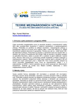 teorie mezinárodních vztahů - Katedra politologie a evropských studií