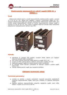 Elektronický stejnosměrný měnič napětí SMN 01 a SMN01.1