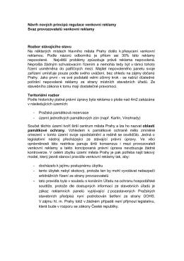 Návrh nových principů regulace venkovní reklamy Svaz