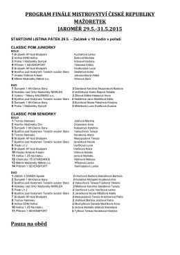 PROGRAM FINÁLE MISTROVSTVÍ ČESKÉ REPUBLIKY