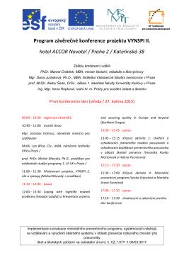 Program závěrečné konference projektu VYNSPI II