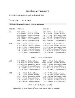 Ústní maturitní zkouška 4.D - rozpis