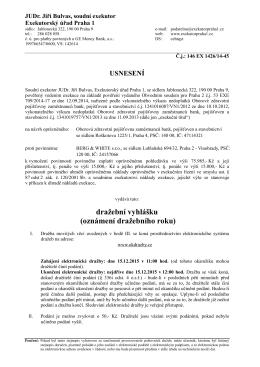 Dražební vyhláška - JUDr. Jiří Bulvas, soudní exekutor