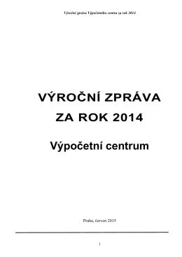 Výroční zpráva Výpočetního centra za rok 2014
