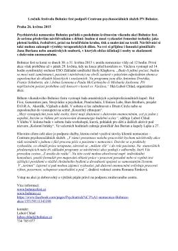1.ročník festivalu Bohnice fest podpoří Centrum psychosociálních