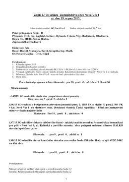 Zápis z jednání ZO ze dne 19.08.2015
