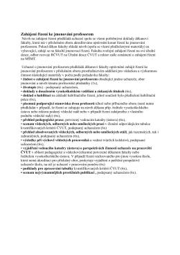 Seznam dokladů k návrhu na jmenování profesorem na FJFI