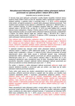 Aktualizovaná Informace GFŘ k aplikaci režimu přenesení daňové