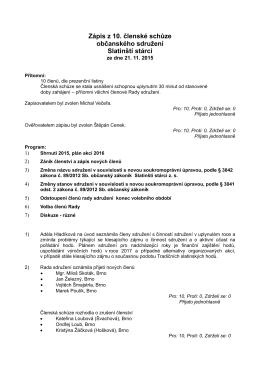 Zápis z 10. členské schůze občanského sdružení Slatinští stárci