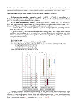 1) Syntaktická analýza shora a zdola, derivační strom, kanonická