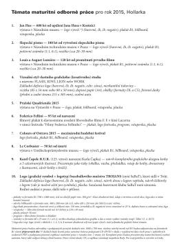 Témata maturitní odborné práce pro rok 2015, Hollarka